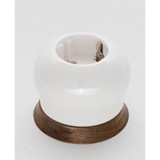 Розетка BIRONI двухполюсная с заземляющим контактом 16А, 250В,  73*73*55мм (в комплекте с одноместной круглой рамкой цвет - Винтаж)