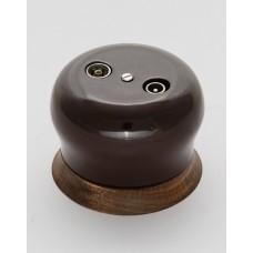 Розетка BIRONI телевизионная R/TV-SAT проходная, 73*73*50мм (в комплекте с одноместной круглой рамкой цвет - Шоколадная ночь)